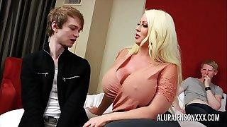Cuckold threesome with big boob pornstar Alura Jenson