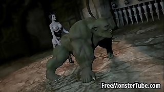 3D orc getting pounded by a babe with a strap on dildo