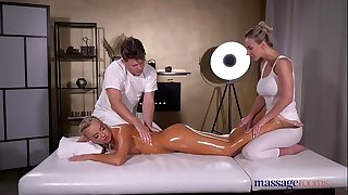 Massage Rooms Oil soaked sensual blonde Czech FFM three way