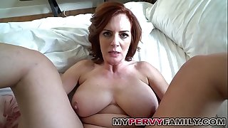 Horny Chesty Mummy Andy Screws Her Step Sons Huge Cock!