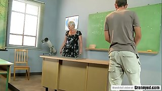 Pervert student pounds mature teacher