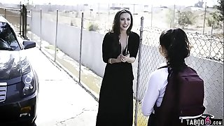 Latina teenager schoolgirl dark-hued and nailed by strangers