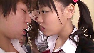 Asian Schoolgirls Seduce Classmate
