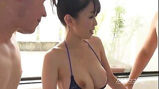busty asian boobjon on bathtub threesome
